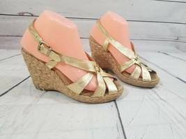 Michael Kors Size 8 1/2 Gold/Brown 4 inch Wedge open toe heels - $18.04