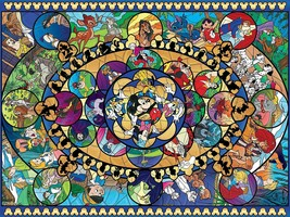 Ceaco Disney Classic II Oval Stained Glass Jigsaw Puzzle 1500 pieces 5 i... - $48.23