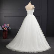 Spaghetti Strap Beach Wedding Dress White Tulle with Sashes Boho Bridal Gown A-l image 3