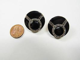1980s Deco Sterling Silver Black Onyx Marcasite Stone Clip Earrings 16.8 Grams - $32.62