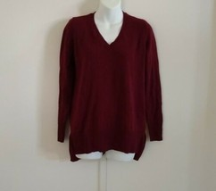 Maison Jules Women's Long Sleeve Pullover V-neck Side Slits Ruby Wine Sw... - $13.98