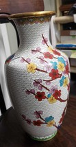 """Chinese Antique Cloisonne Vase Flowers 12"""" Tall   - $59.99"""