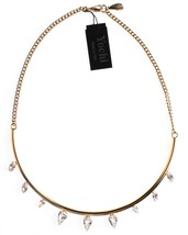 Neuf Yoshi New York Plaqué Or Cristal Clair Demi Cercle Barre Collier Imposant