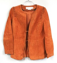GARFIELD & MARKS ORANGE HAND TOOLED Suede LEATHER JACKET COAT Womens SZ 8  - $59.00