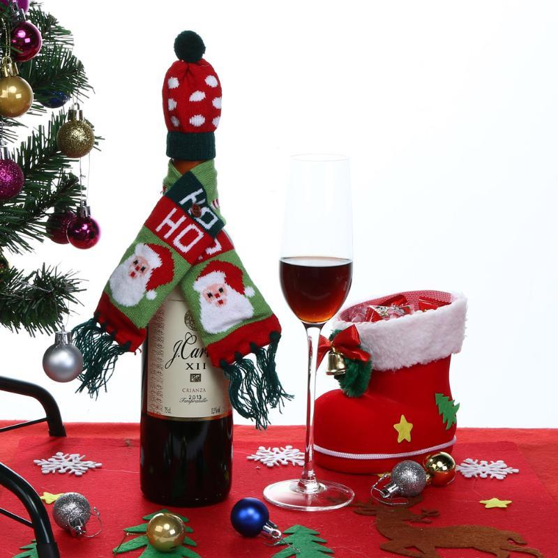 (01)Hat Scarf Wine Hold Bottle Cover Decoration Home Party Christmas Wine Bag Ch