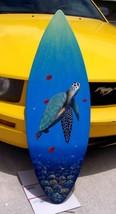 Sea Turtle red fish Surfboard nautical Wall Art Hand painted fish sea life - $171.02 CAD