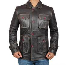 Mens ATLANTA Dark Brown Distressed Leather Jacket - Fast Shipping - $114.99