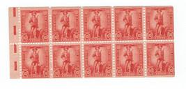 1942 10c US War Savings Booklet Pane Rose Red Catalog Number WS7b MNH