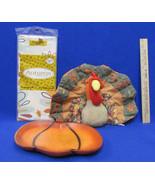 Autumn Fall Thanksgiving Decorations Turkey Pumpkin Dish Vinyl Tableclot... - $15.04