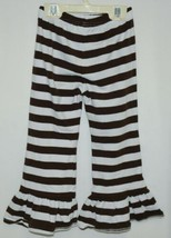 Blanks Boutique Brown White Ruffled Pants Cotton Spandex Size 4T image 2