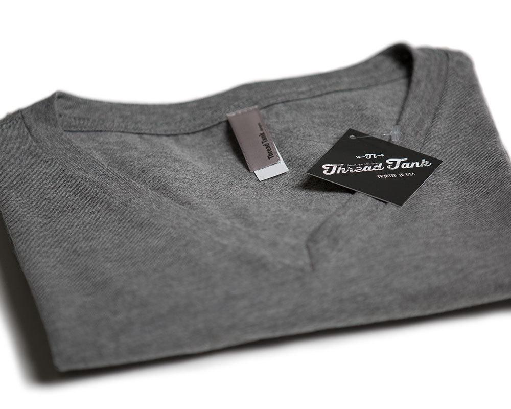 Thread Tank Onward And Upward Women's Relaxed V-Neck T-Shirt Tee Heather Grey