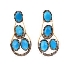 Victorian 8.64ct Rose Cut Diamond Turquoise Women's Dangler Bridal Earrings - $854.25