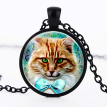 FOXY BOWTIE CAT CABOCHON NECKLACE  #9392 >> COMBINED SHIPPING - $4.75