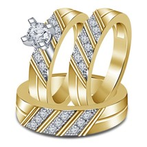 1.35 Ct Diamond 14k Yellow Gold Fn .925 Silver 3 Piece Trio Engagement Ring Set - $175.98