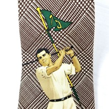 Polo Sport Mens Tie 100% Silk 54 Inches Brown Check with Vintage Golfer Graphic - $20.74