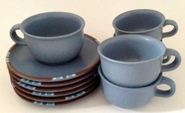 Dansk Mesa Sky Blue 5 Cups and 6 Saucers Made in Japan Retired 2004 - $14.84