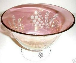 """Lenox Crystal Etchings Cranberry Footed 9""""W Serving Bowl Centerpiece New - $42.90"""