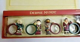 Debbie Mumm Sledding Napkin Holder Rings Holiday Dinning Table Decor Set... - $20.99
