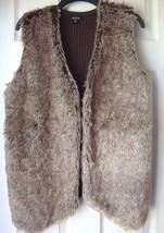 New ALYN Faux Fur Panel Open Front Knit Vest Brown Size 1X - $43.55
