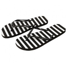 Ladies' Black and White Striped Flip Flops