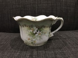 Antique RS Prussia Cup White Lilly and Green with Gold Trim Handpainted - $46.74