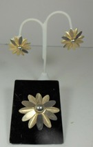Vintage Sarah Coventry Gold Tone Daisy Pin & Clip on Earring Set - $12.86