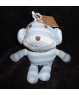Old Navy Newborn Baby Monkey Blue Stripe Plush Stuffed Animal Brown Face... - $29.68