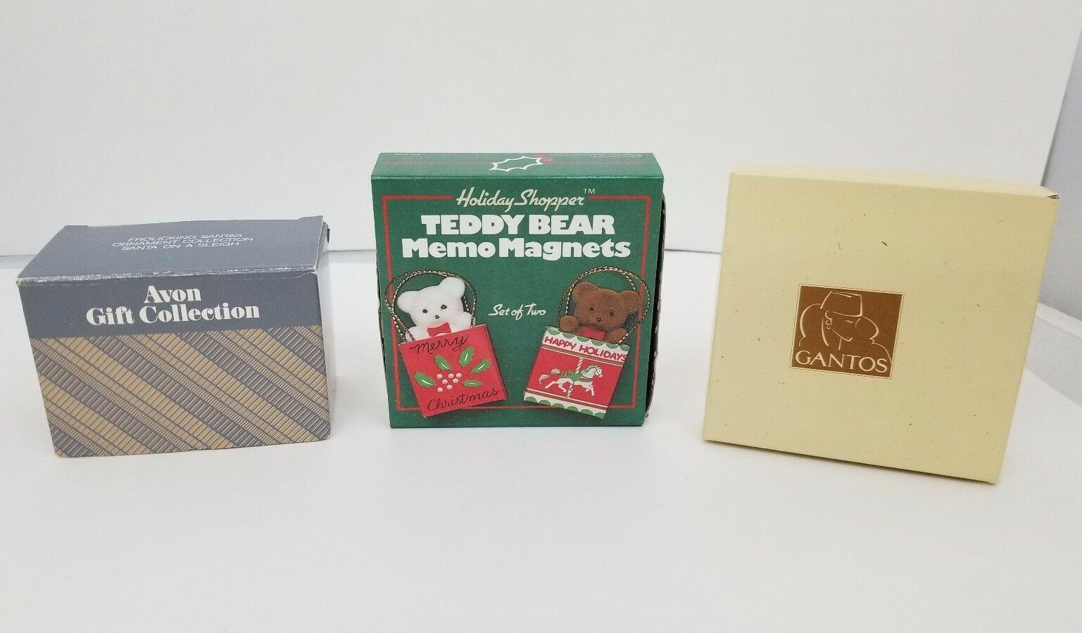 Christmas Tree Ornaments Set of 4 Avon Santa Claus Sleigh Teddy Bear Memo Magnet