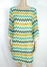 NWT Beige Green Gold Chevron Zig Zag Crochet Lace Bell Sleeve Shift Dres... - $9.50