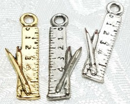 PENCILS AND RULER PEWTER PENDANT CHARM - 9x27x3mm image 1