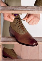 Beige Brown Two Tone Premium Leather Customized Stylish Oxford Lace Up B... - $149.90+