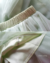 LIGHT GREEN Elastic High Waist Tulle Skirt Green Wedding Bridesmaid Tulle Skirts image 7