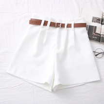 New white high waisted pleated front women shorts with brown belt spring... - $29.00