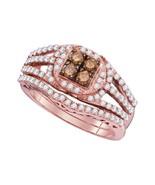 10k Rose Gold Round Brown Diamond Bridal Wedding Engagement Ring Set - $890.64