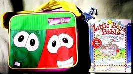 Veggie Tales Lunch Book Bag Bob Larry Soft Zipper & Mother Son Little Bo... - $19.49