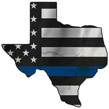 Thin Blue Line Police State of Texas Laser CutOut Metal Sign 17Wx17H. - $25.74