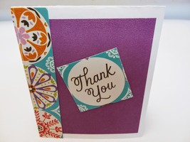 Blank thank you greeting card, Lavender floral card handmade  - $2.75