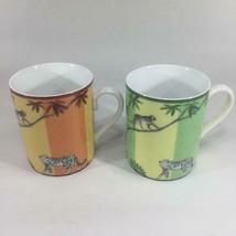Hermes Africa Mug Cup Set of 2 Orange green porcelain dinnerware animal ... - $481.64