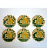 6 Vintage Buttermilk Cardboard  Milk Bottle Caps with Lady Churning Butter - $12.99