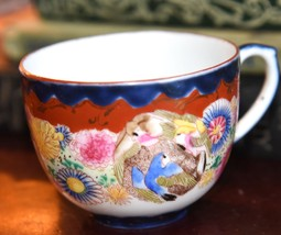 HAND PAINTED DEMI TEA CUP JAPAN GOLD GILT BIRDS FLORALS VINTAGE EGG SHEL... - $19.99