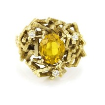1970s Brutalist Ring with Citrine and Diamonds in Yellow Gold - $1,084.05