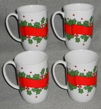 Set (4) Fitz & Floyd HOLLY WREATH PATTERN Handled Mugs HOLIDAY - CHRISTMAS - $59.39