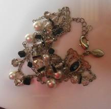 White House Black Market Silver-Tone Faux Pearl Black Bead Crystal Bracelet - $18.80