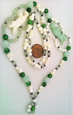 Jade mother of pearl aventurine necklace