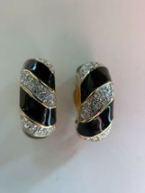 Swarovski Swan Signed Black Clear Crystal Pave Gold Clip On Earrings hoop - $31.68