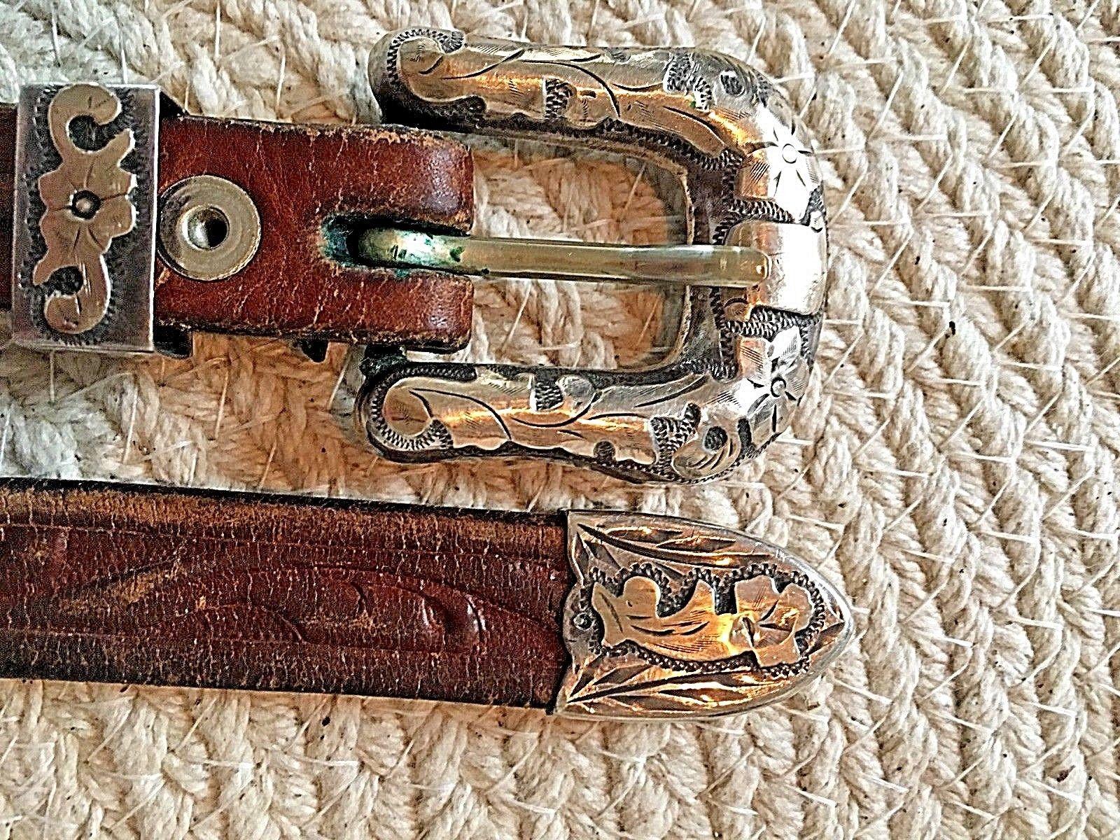BOHLIN MADE BELT RANGER PLATA DE JALISCO STERLING SILVER BUCKLE Leather Western