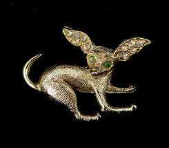 "Vintage Mid Century Gold Tone Paste Rhinestone Chihuahua Dog Pin Brooch 1"" - $53.99"