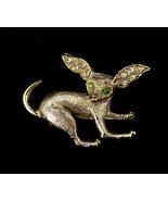 "Vintage Mid Century Gold Tone Paste Rhinestone Chihuahua Dog Pin Brooch 1"" - $53.99"