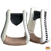 Horse Western Saddle Stirrup OversizeRawhide Leather Pair Hilason U-T113 - $49.45