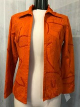Chico's Women's Orange Open Front Blazer Fully Lined Embroidered Size 0 / 4 - $38.61